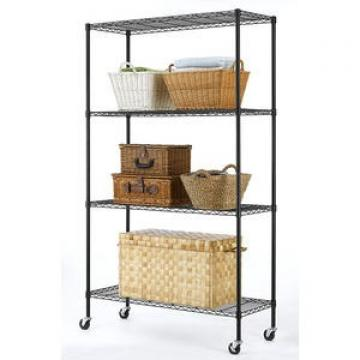 Practical 4 Tier Commercial Heavy Duty Metal Storage Wire Shelf Rack, Certified by BSCI, 20 Years Factory
